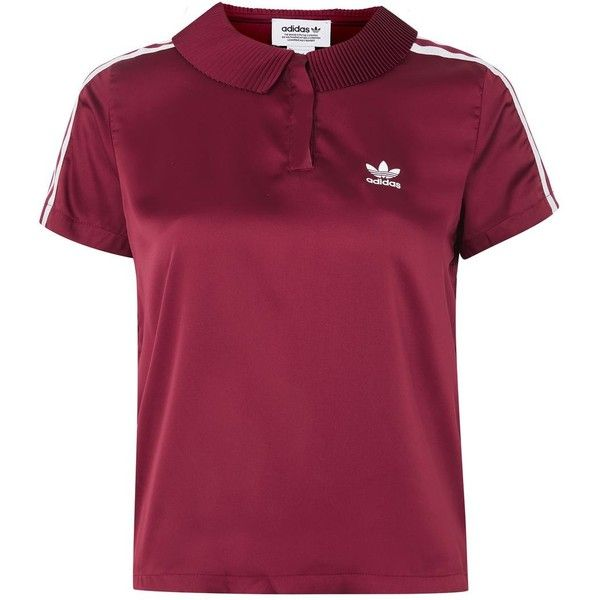 3 Stripe Polo Shirt by Adidas Originals ($95) ❤ liked on Polyvore featuring tops, burgandy, stripe top, topshop tops, purple polo shirts, purple top and polo shirts