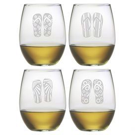 """Add a charming touch to your home bar or tablescape with this stemless wine glass, showcasing a sand-etched flip-flop motif.  Product: Set of 4 wine glassesConstruction Material: GlassColor: Clear Features:  Stemless design21 Ounce capacitySand-etched flip-flop motif Dimensions: 4.63"""" H x 3"""" Diameter"""