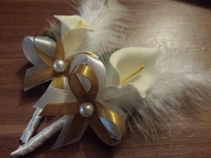 Svadobné pierko kala -rodič/svedok- biela+zlatá