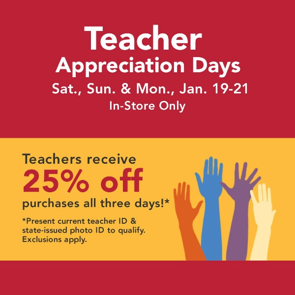 #Jo-Ann #Teacher Appreciation Days are Jan. 19-21, 2013!