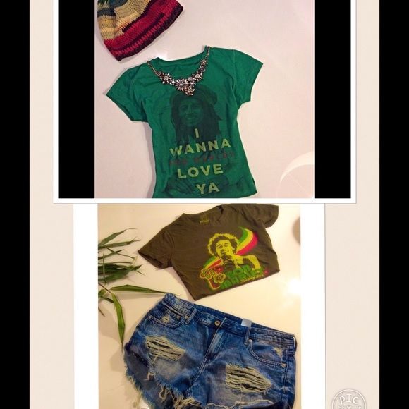 """(BUNDLE) Bob Marley Rasta Shirts and Beanie Ethnic Three items included in this fabulous Bundle!!! Bob Marley Zion """"I wanna love ya"""" green shirt sleeve shirt is a size small. The other green (colorful) young Bob Marley shirt is a size Medium and 100% cotton. Both shirts are in Good preowned condition. No marks or stains! The colorful Rasta  crochet beanie is in good condition and was gently used. You can't beat all three items for this AWESOME PRICE!! All three items retail for 80.00, but…"""