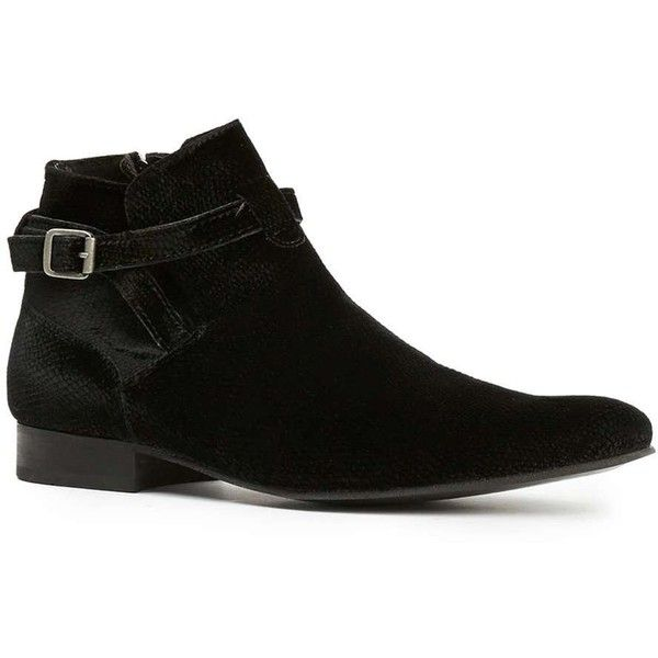 TOPMAN House Of Hounds Black Embossed Velvet Strap Boots ($120) ❤ liked on Polyvore featuring men's fashion, men's shoes, men's boots, black, mens monk strap shoes, mens black monk strap shoes, mens velvet shoes, topman mens shoes and mens zipper boots