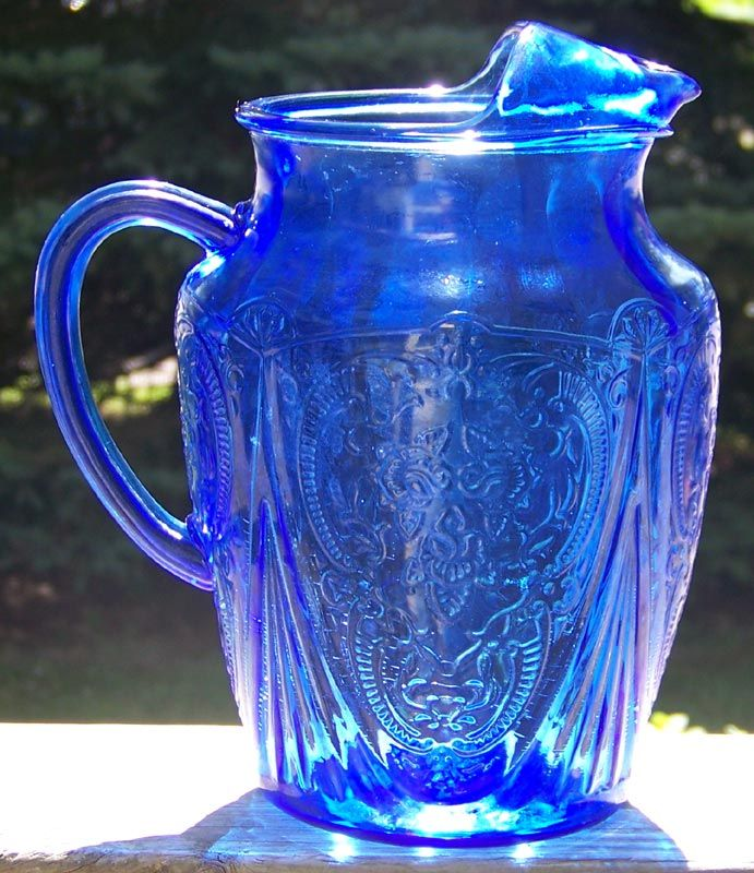 I love this color and pattern...   Rare Cobalt Blue Royal Lace Depression Glass 96 oz. Ice Lip Pitcher