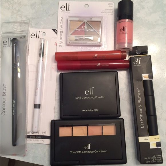 E.L.F Makeup Products 9 makeup beauty products. Most still New In Package New and like new. $35 value. ELF Makeup