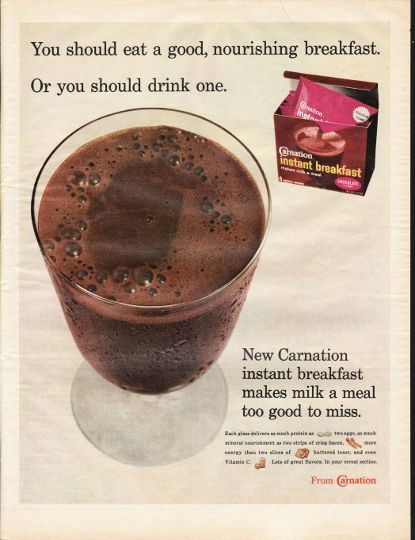 """1966 CARNATION INSTANT BREAKFAST vintage magazine advertisement """"good, nourishing breakfast"""" ~ You should eat a good, nourishing breakfast. Or you should drink one. - New Carnation instant breakfast makes milk a meal too good to miss. - Each glass ..."""