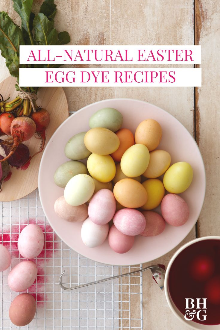 Dye Easter eggs naturally with food and other household ingredients you probably already have. We're sharing which foods produce beautiful, vibrant colors and how long you should soak your eggs. #eastereggdye #naturaleggdye #easter