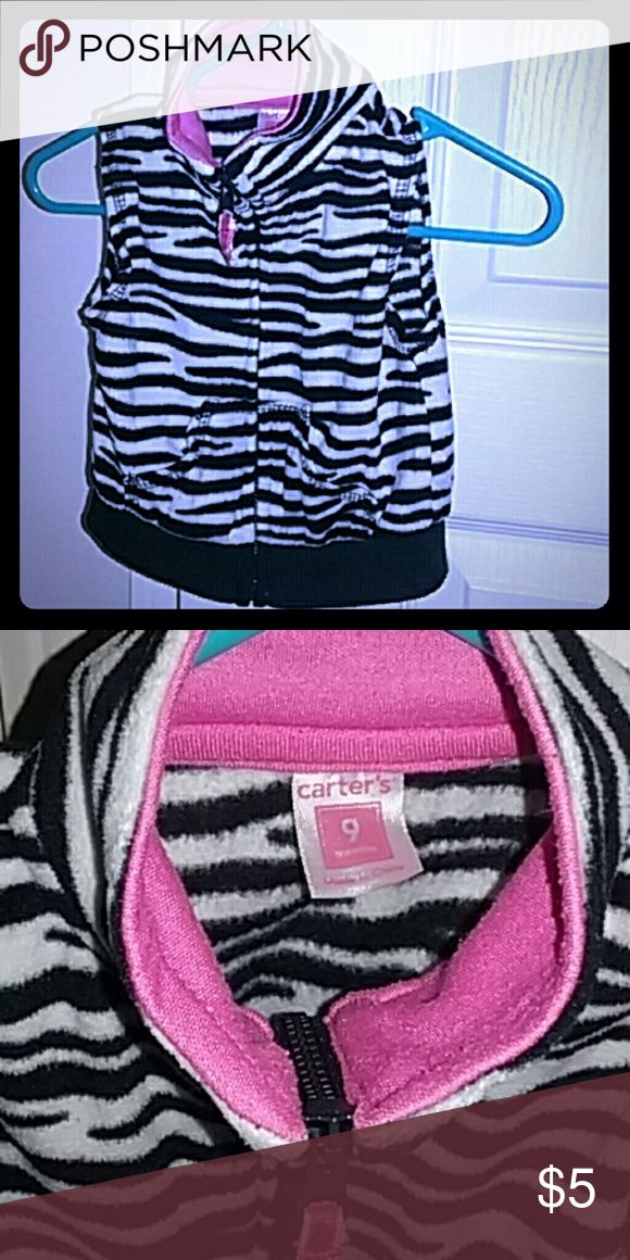 9 months Girls Zebra Striped Vest By Carters Cute Trendy Zebra Striped Vest made by Carter's. Size 9 months. Great condition. Smoke free home. Carter's Jackets & Coats Vests