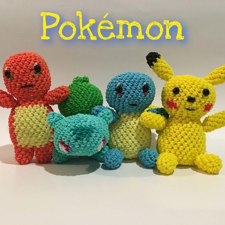 Pokémon Combo Play Pack Rubber Band Figure, Rainbow Loom Loomigurumi, Rainbow Loom Character by BBLNCreations on Etsy    Loomigurumi Amigurumi Rainbow Loom
