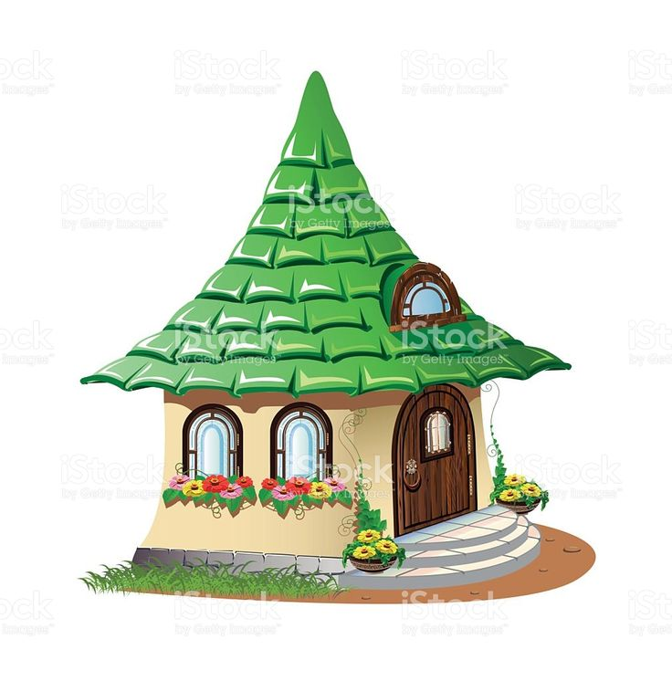 fairytale house with flowers royalty-free stock vector art