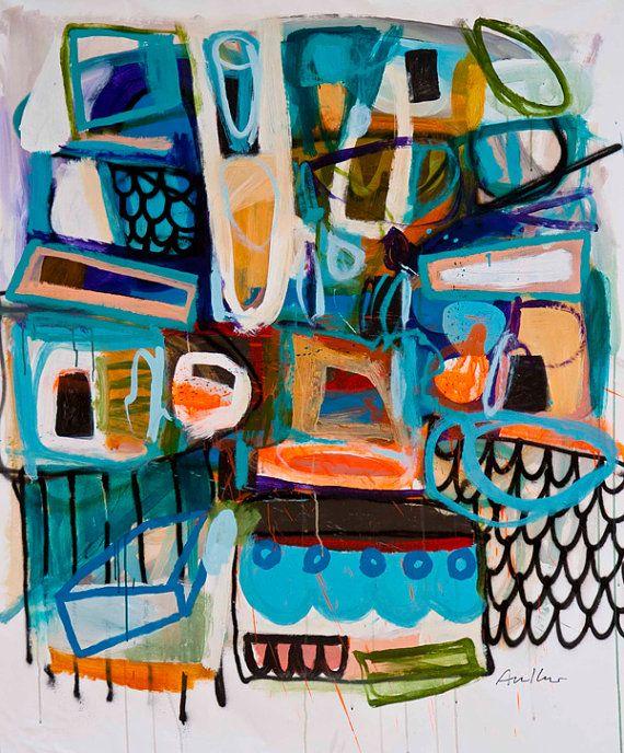 Tlaloc by Gerardo Arellano; 12x12 print of original abstract painting. $30.98