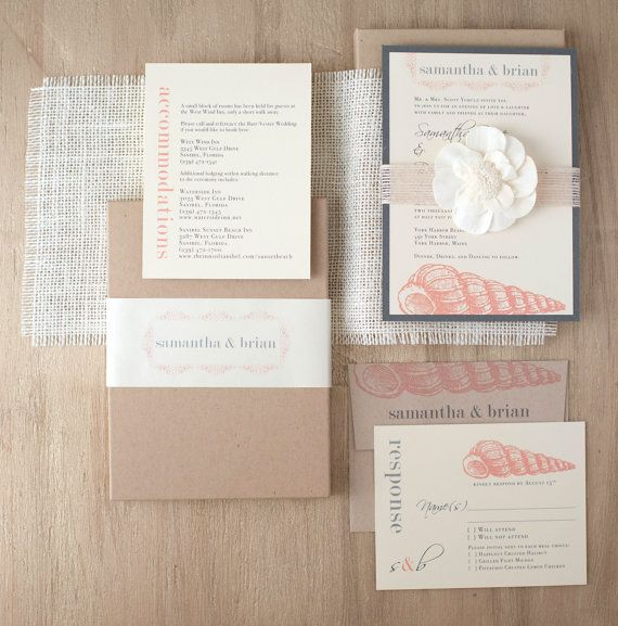 Destination Wedding Invitations With Ivory, Taupe, Blush and Burlap