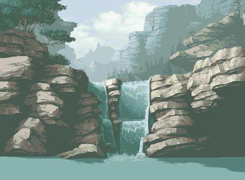 Waterfall - amazing pixel art by Fool