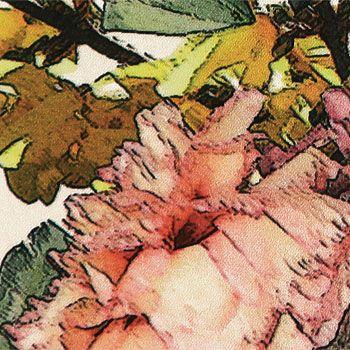 Baumwollsatin+Stretch+m/Blumen+Natur