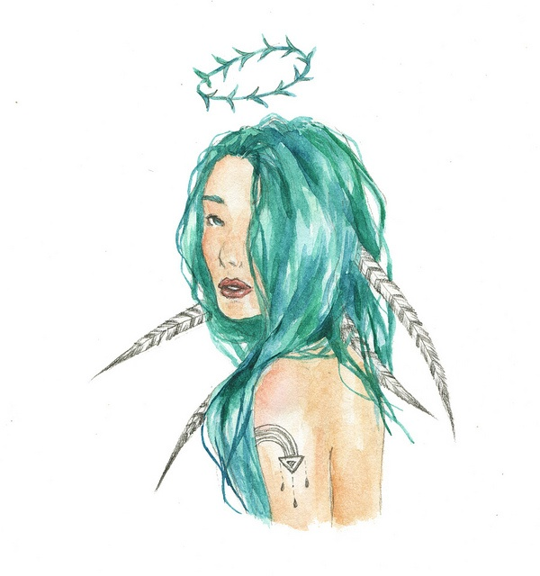 My Artwork: Miss Adriana Mermaid with blue hair and feathers <3