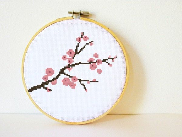 Quick & Easy Cherry Blossom cross stitch pattern from CharlotteAlexander on Etsy