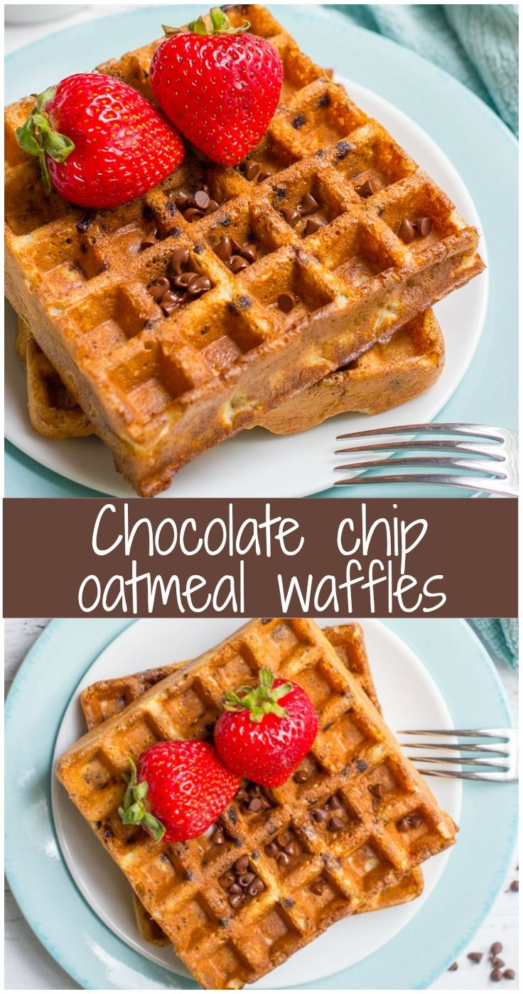 Chocolate chip oatmeal waffles - a delicious and sweet whole grain breakfast recipe! Great to have on hand for busy mornings! @bobsredmill #BRMOats