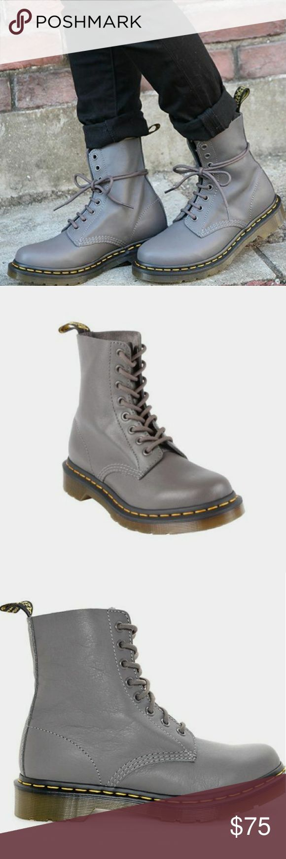 Women's Dr. Martens Pascal Combat Boots - New New without box. Please note: small mark on the inside of shoe as seen in last photo. Not visible from outside of shoe. Women's size 10.  Pascal 8 Eye Lead Virginia boots by Dr. Martens. Soft, fine-grained nappa leather upper. Air-cushion sole with tread pattern for good impact absorption and slip resistance. Sole is resistant to oil, fat, acid, petrol and alkali. Goodyear welt construction for durability. Perforated footbed. 8 metal eyelets with…