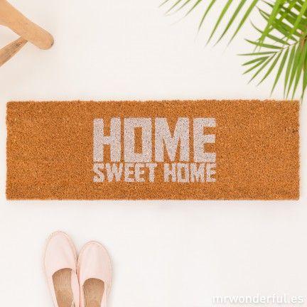 "Felpudo ""Home sweet home"" color blanco"