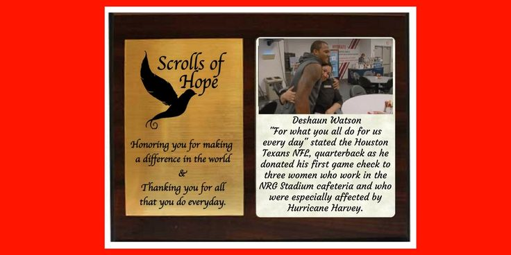 """A Plaque of #Appreciation to a #humanitarian. #DeshaunWatson, a #true #hero #NFL #care #love Not just a """"Message in a Bottle' It's all about 'Connection'"""