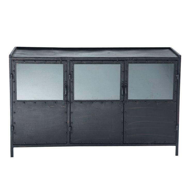 Zwart metalen industrieel dressoir met glas B 130 cm