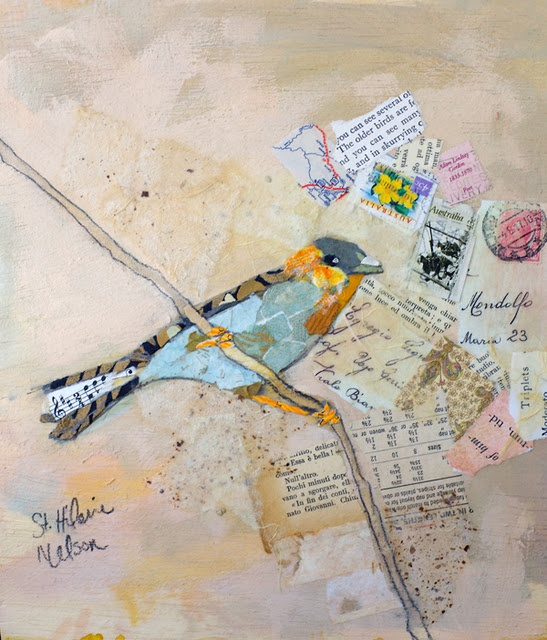 oh, love this one too!: Birds Prints, Old Book, Birds Art, Collage Art, Hilair Nelson, Mixed Media, Elizabeth St., Acrylics Paintings, Paper Collage