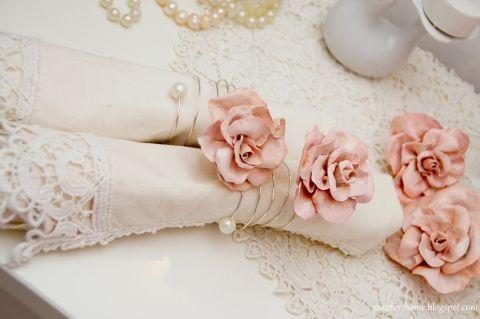 Rózsás szalvétagyűrű, sweeterhome, meska.hu #wedding #rose #napkin #ring