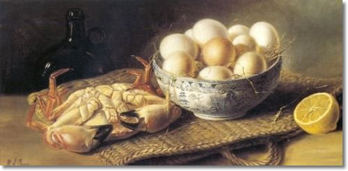 Mary A. Powis - Still Life Crab Eggs In A Basket