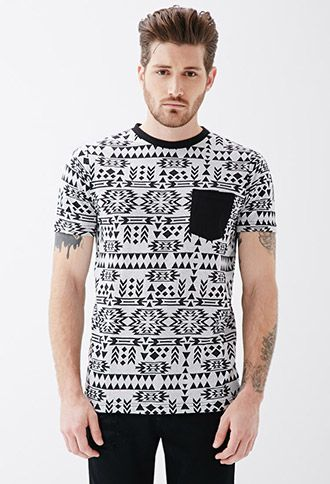Southwestern-Patterned French Terry Tee | 21 MEN - 2049257788