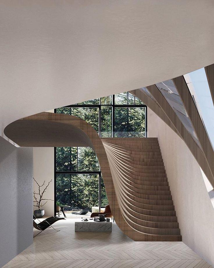 Esta casa no lago suíço da Wafai Architecture apresenta uma parede que gradualmente trans …   – Stairs