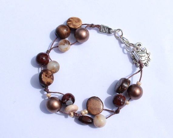 Brown Beaded Bracelet  Brown Knot Bracelet  by PinkBeading on Etsy, £8.00