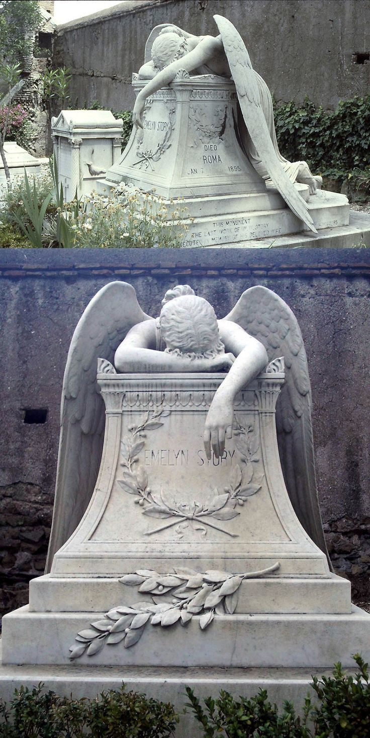 "The original Angel of Grief by sculptor William Wetmore Story serves as the grave stone of the artist and his wife at the Protestant Cemetery, Rome. The inscription on the side reads ""This monument the last work of Wm. W. Story executed in memory of his beloved wife"". The term is now used to describe multiple grave stones throughout the world erected in the style of the Story stone."