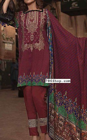 Maroon Twill Linen Suit | Buy Zara Ali Pakistani Dresses and Clothing online in USA, UK