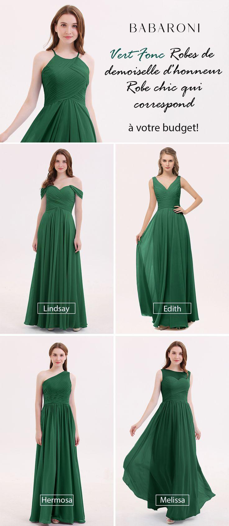 Robes de Demoiselle d'Honneur Longues Mousseline Bretelle Licou Tulle Vert