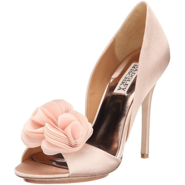 Badgley Mischka Women's Blossom d'Orsay Pump ($179) ❤ liked on Polyvore featuring shoes, pumps, d'orsay pumps, embellished shoes, floral shoes, open toe pumps and open-toe pumps
