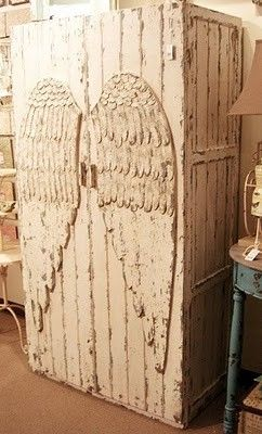 angel wings shabby chic armoire
