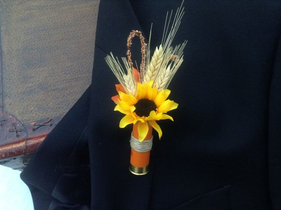 Shotgun shell boutonniere designed for fall by AlwaysElegantBridal