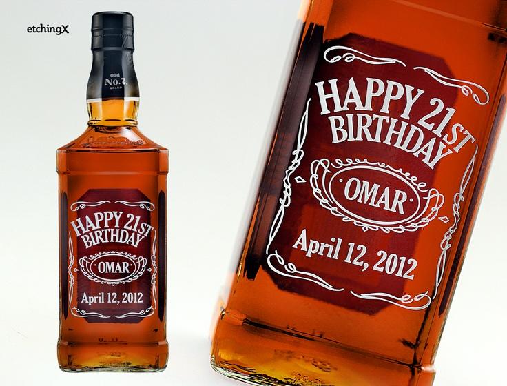 Label inspired etched liquor bottle of Jack Daniels.  Happy Birthday Omar!  Your custom design starts at $90