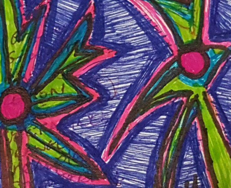 BIPOLAR ART ORIGINAL ACEO FOUND POETRY OUTSIDER BRUT ABSTRACT FLOWER ART ATC #OutsiderArt