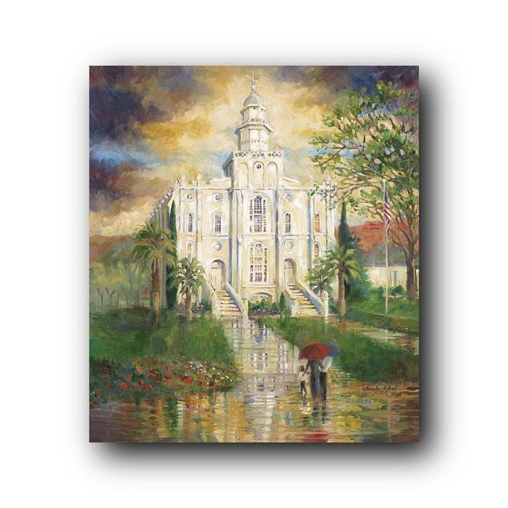 This Popular LDS Temple painting of the St George Utah Temple is requested by many of our customers and vendors because it took time and preparation to complete