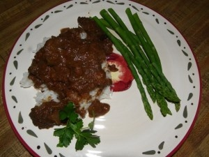 Goat Stew Meat from B Cabrito- meat rich in flavor, from the shoulders and legs with sweet spices like cinnamon, cardamom and allspice and with the bold, spicy flavors in harissa and curry.