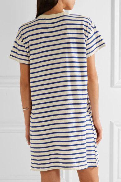The Great - The Boxy Striped Cotton-jersey Mini Dress - Blue - 1