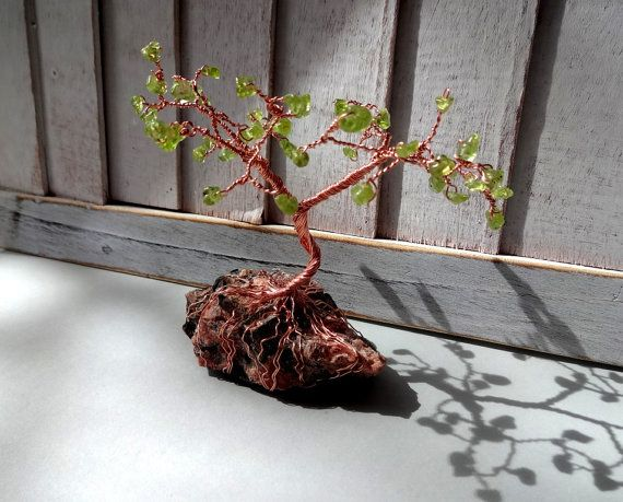 Peridot Wire Tree on Mica rock stone home от ShungiteJewelryGift