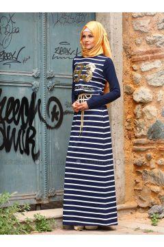 Kalın Çizgili Hijab Elbise - Mustafa Dikmen #modasto #giyim #moda https://modasto.com/mustafa-ve-dikmen/kadin/br18231ct2