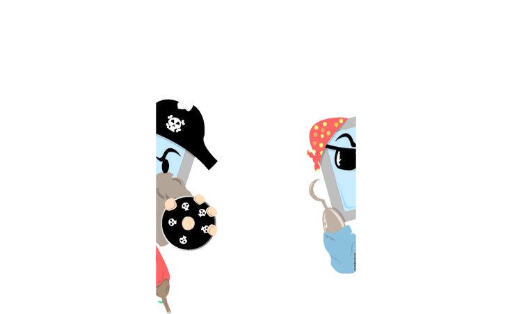 Ilustración sobre piratería informática. Hecho con Illustrator