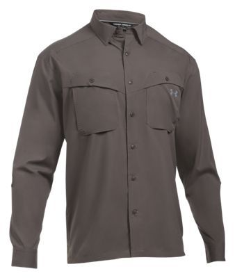 Under Armour Tide Chaser Long-Sleeve Fishing Shirt for Men - Fresh Clay/Tan Stone - 2XL