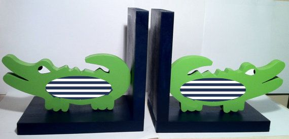 Alligator Bookends/Navy and green alligator by TheWoodenOwl, $64.99. tee hee! just afraid they wouldn't be heavy enough