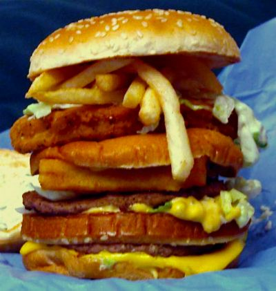 Have you ever wished McDonald's could combine a Big Mac, Filet O'Fish and McChicken at the same time? Well they have. The McLand Sea and Air Burger uses meat from animals found on land, sea and air. All three patties are eaten on one bun. Yum!