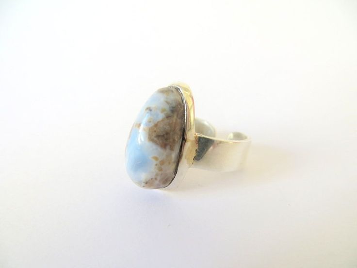 Sterling Silver Blue Opal Teardrop ring by Picossa on Etsy