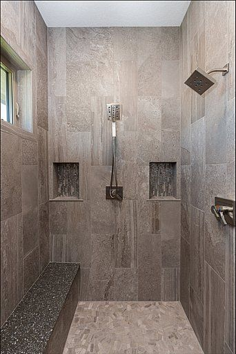 Walkin In Shower With Dual Shower Heads Niches And A