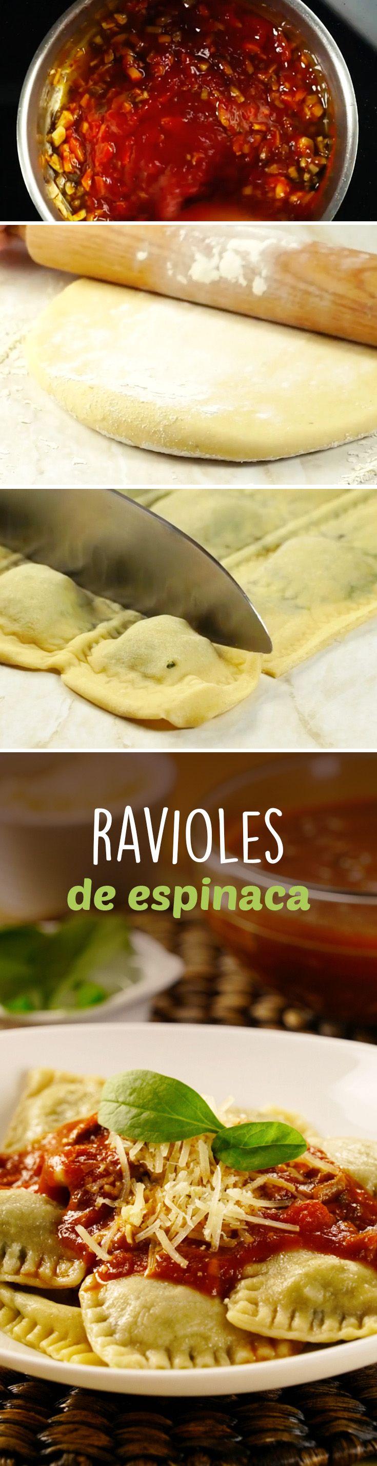 Receta de ravioles caseros rellenos de espinaca y queso. Un clásico para cenas formales, Navidad o Año Nuevo.